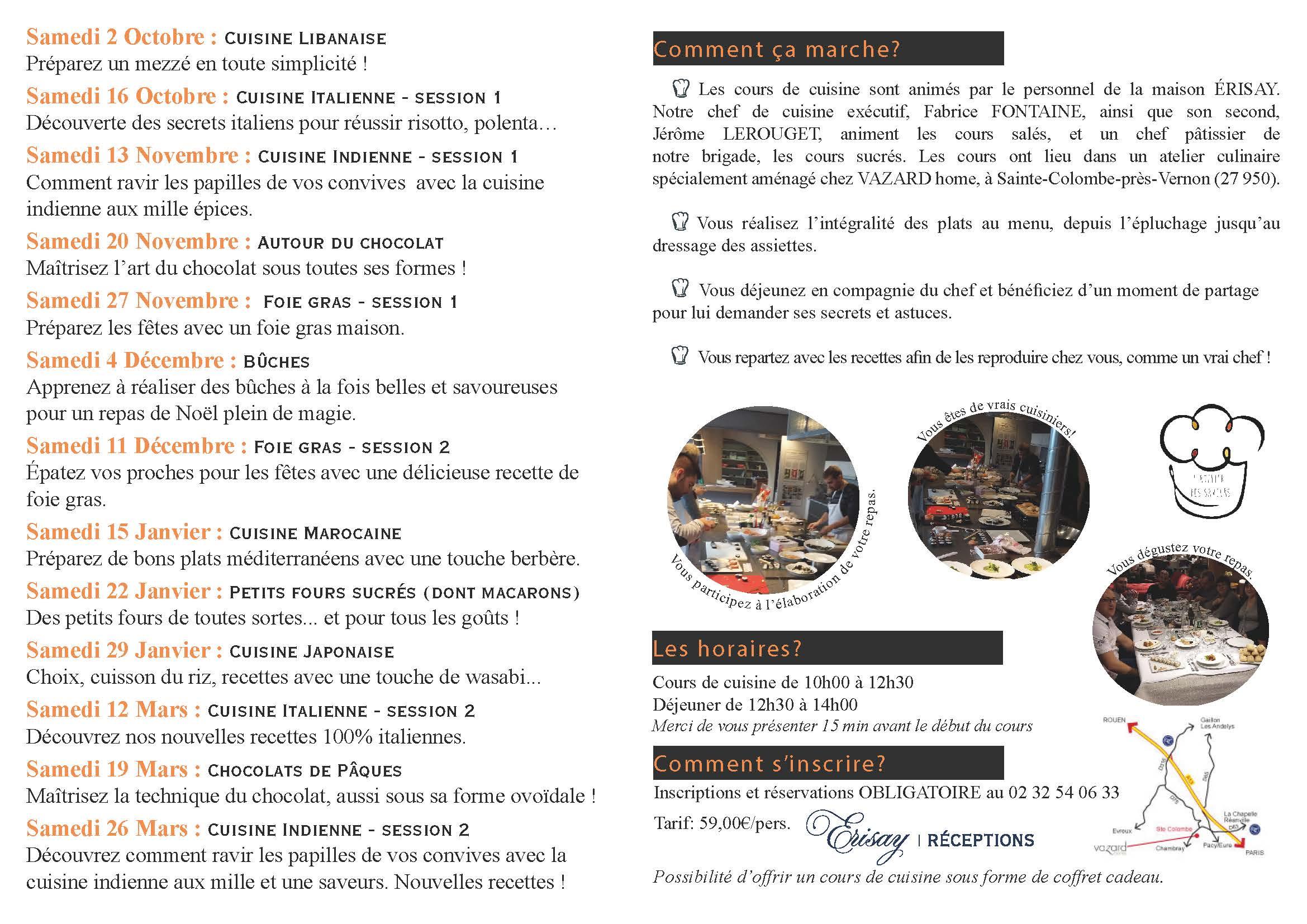 Brochure cours de cuisine